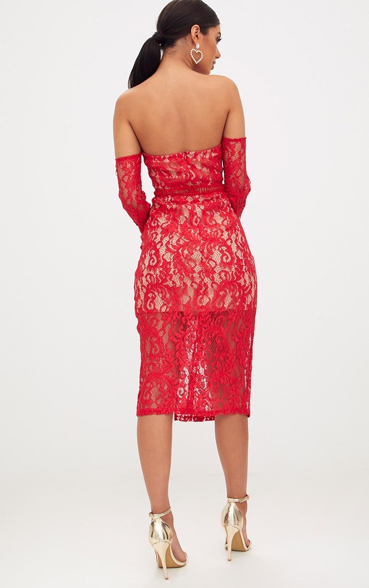 Red Lace Bardot Split Detail Midi Dress  2