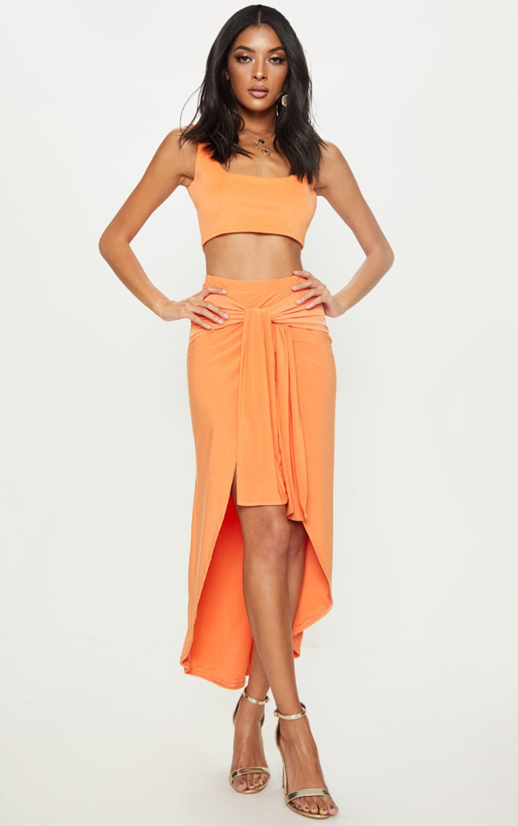 Tangerine Slinky Wrap Knot Front Midaxi Skirt