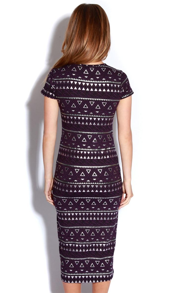 Nadia Purple Aztec Cap Sleeve Midi Dress 4