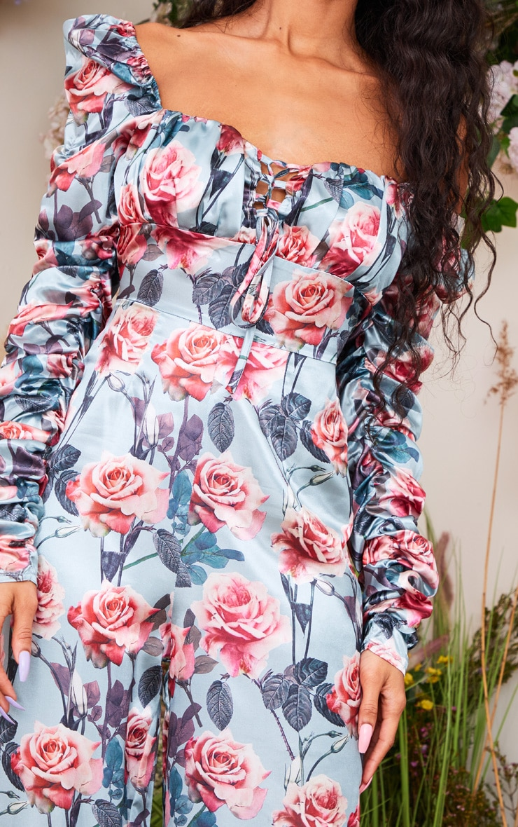 Dusty Blue Rose Print Ruched Sleeve Lace Up Jumpsuit 4