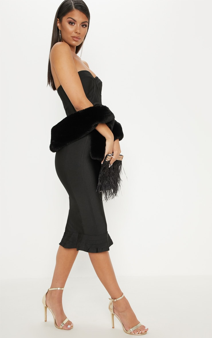 Black Frill Hem Bandage Midi Dress 4