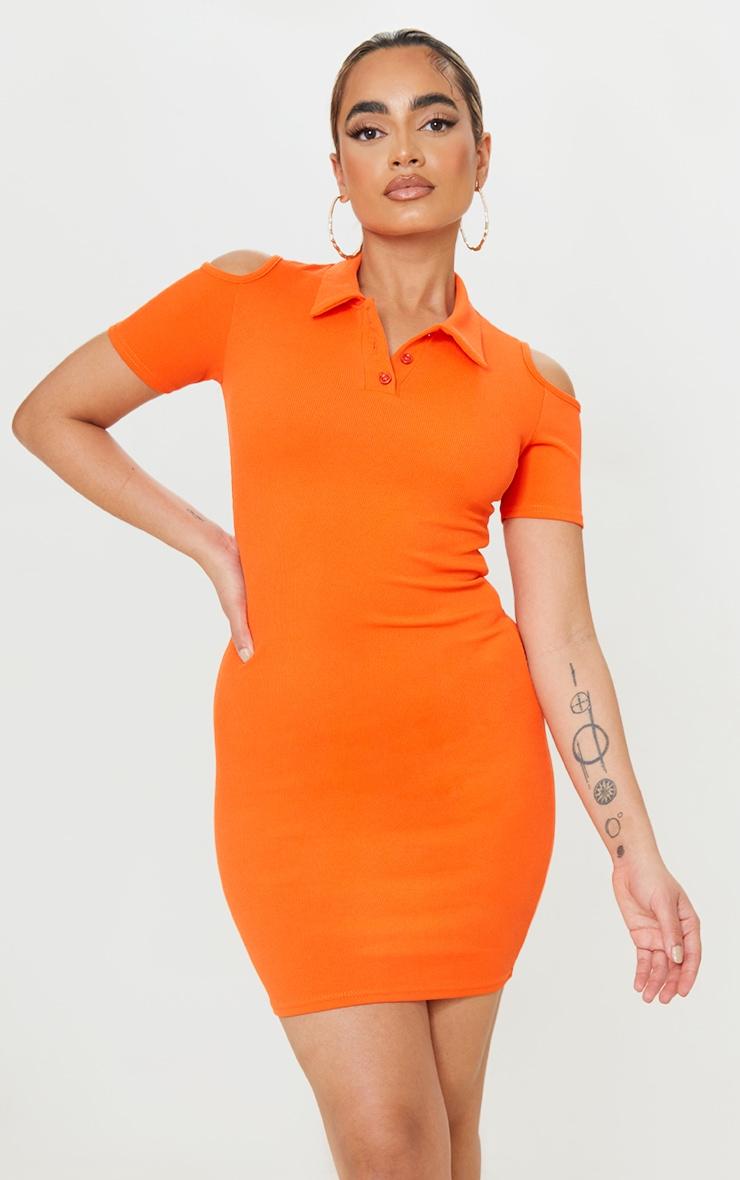 Petite Orange Cut Out Shoulder Polo Dress 1