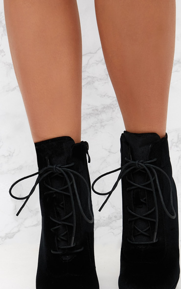 Black Velvet Lace Up Heeled Ankle Boot 5