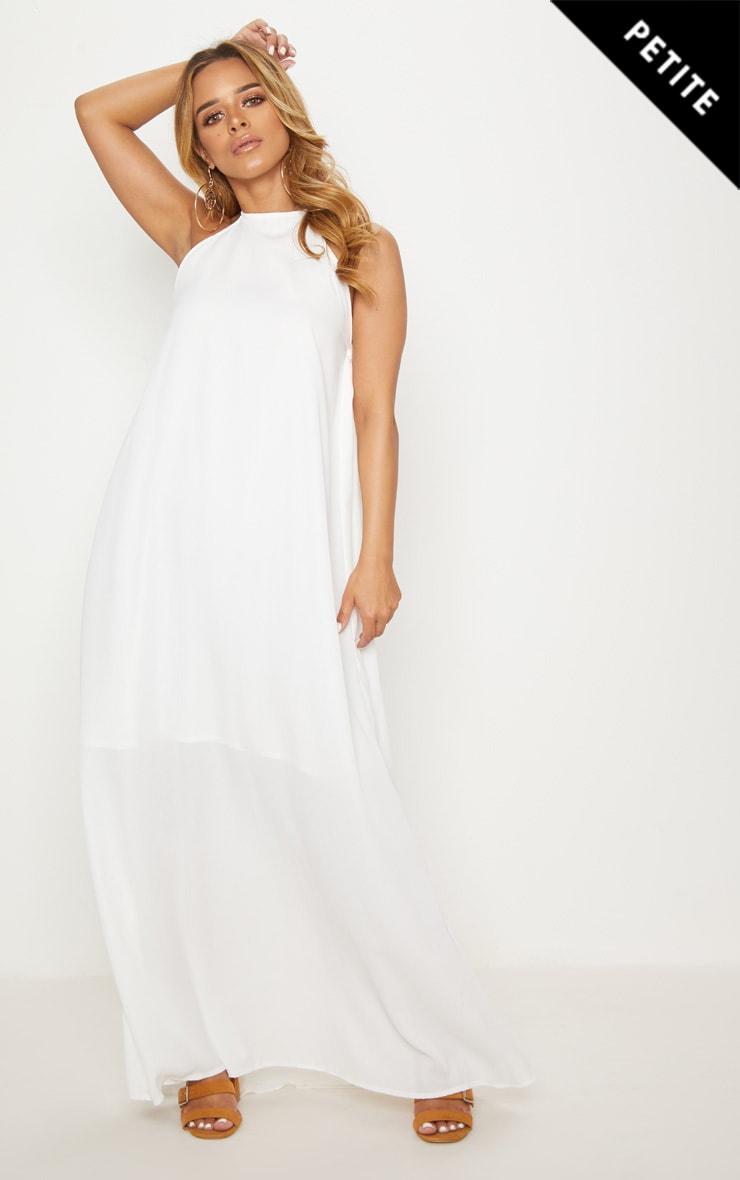 Petite White Halterneck Scoop Back Maxi Dress 4