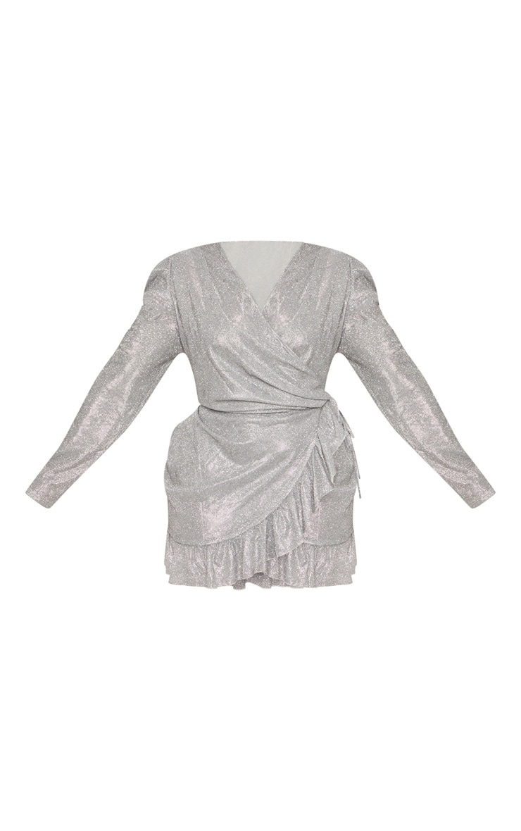 Plus Silver Puff Sleeve Frill Hem Wrap Dress 4