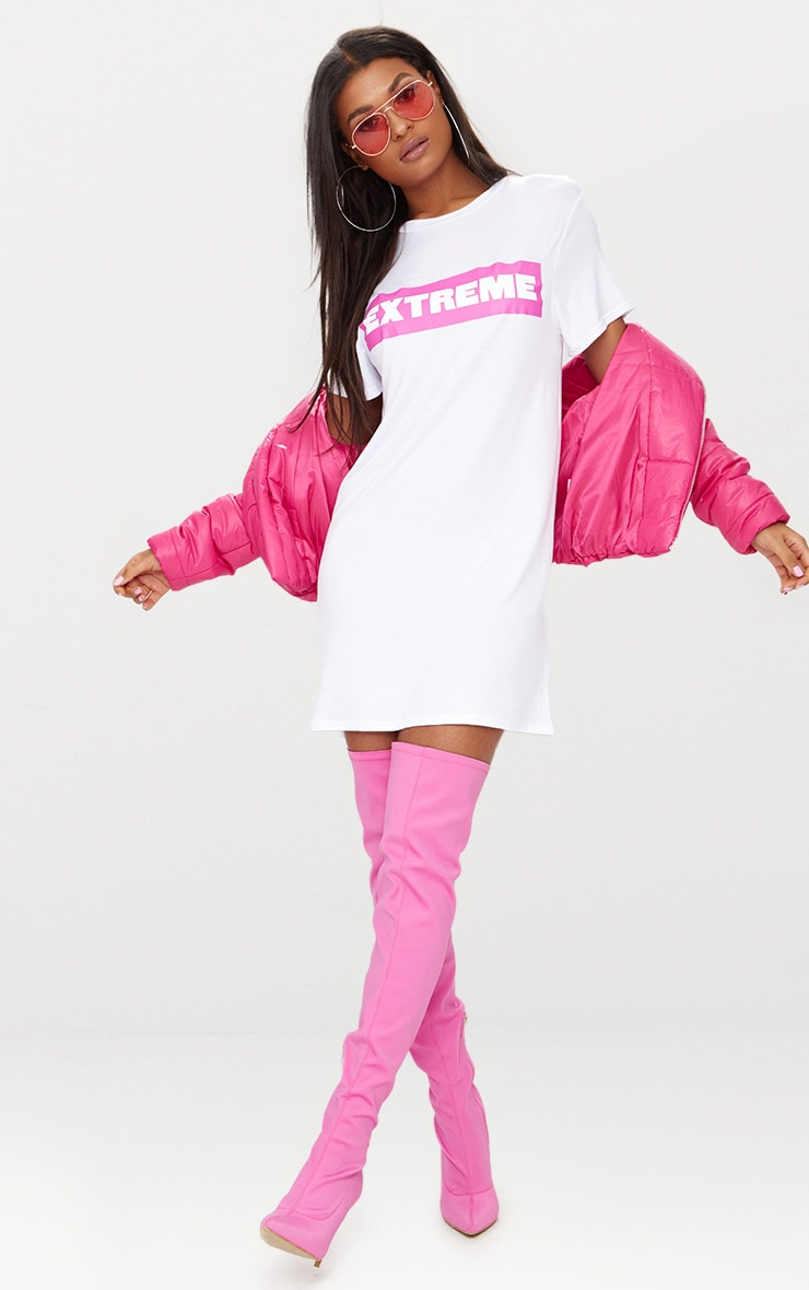 'Extreme' White T Shirt Dress 4