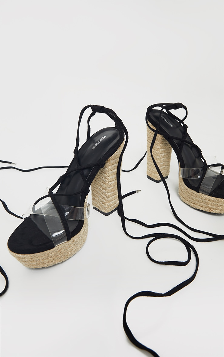 Black Espadrille Platform Ghillie Lace Up Sandal 3