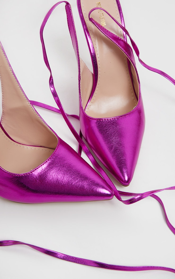 Fuschia Metallic Ankle Tie Court Shoe 4