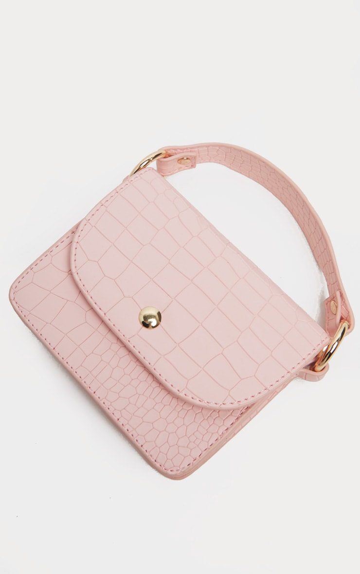 Pale Pink Croc Square Mini Bag 4