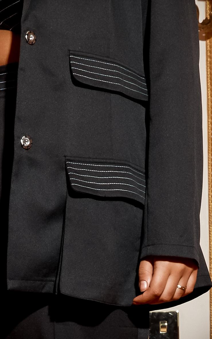 Plus Black Seam Detail Blazer 4