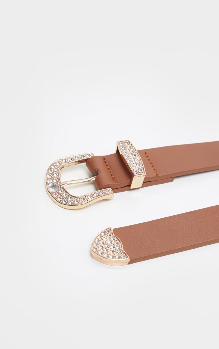 Tan Pu Small Gold Diamante Buckle Slim Belt                    3