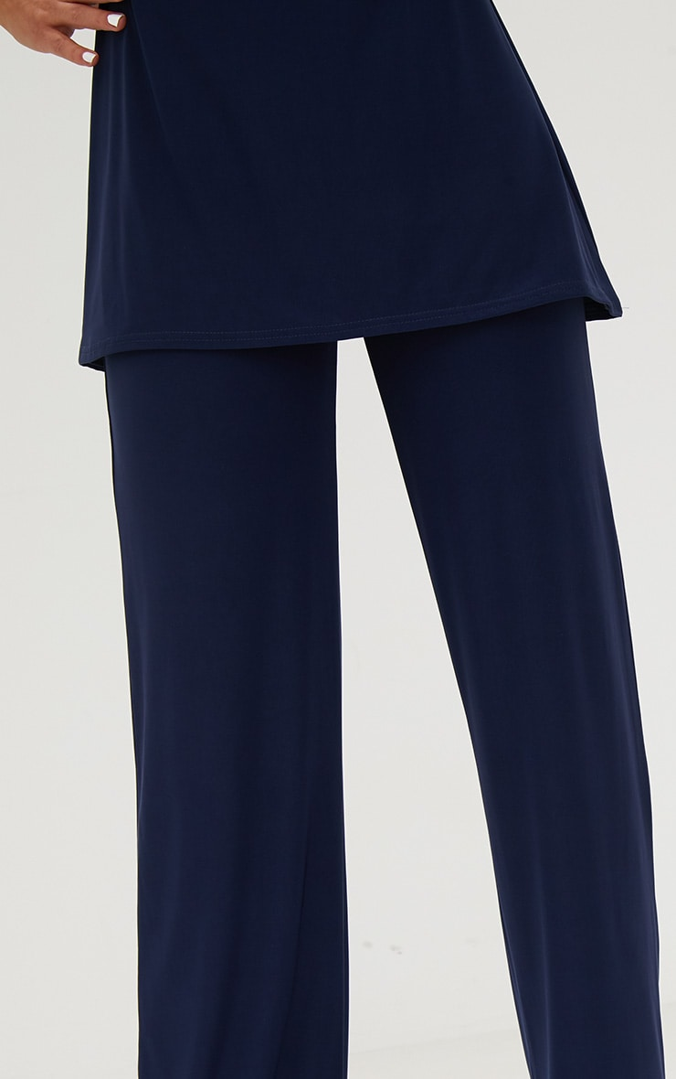 Navy Double Layer Slinky Wide Leg Trousers 5