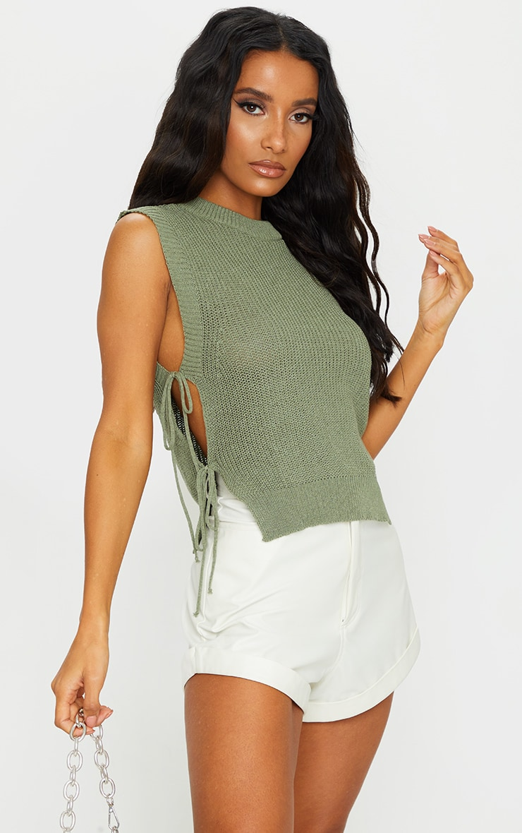 Khaki Tie Side Knitted Vest 1