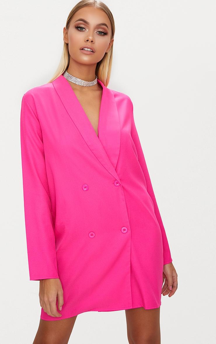 Fuchsia Oversized Blazer Shift Dress 1