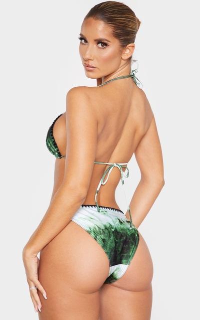 Green Tie Dye Blanket Stitch Triangle Bikini Top