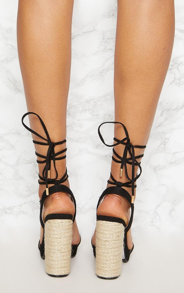 Black Espadrille Platform Leg Tie Sandal 4