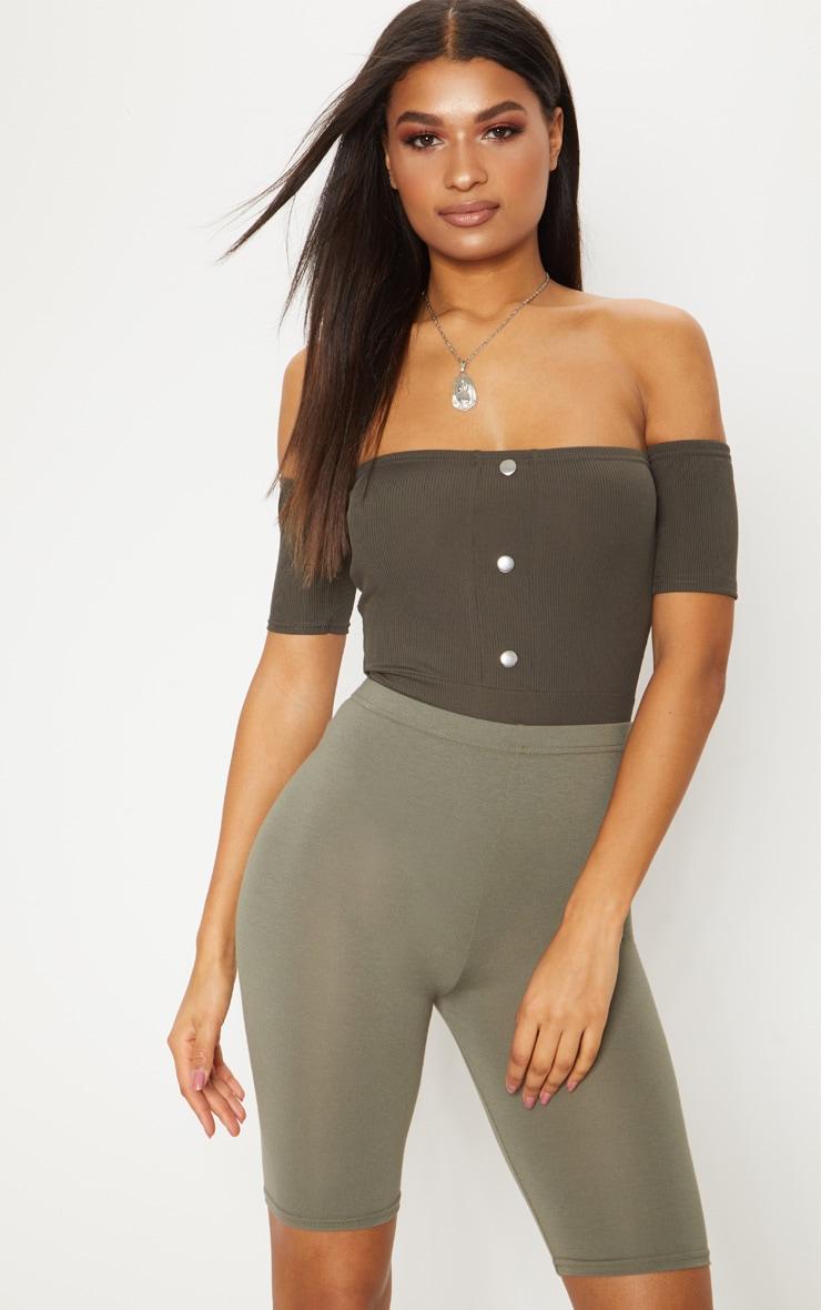 Khaki Popper Front Bardot Thong Bodysuit 2