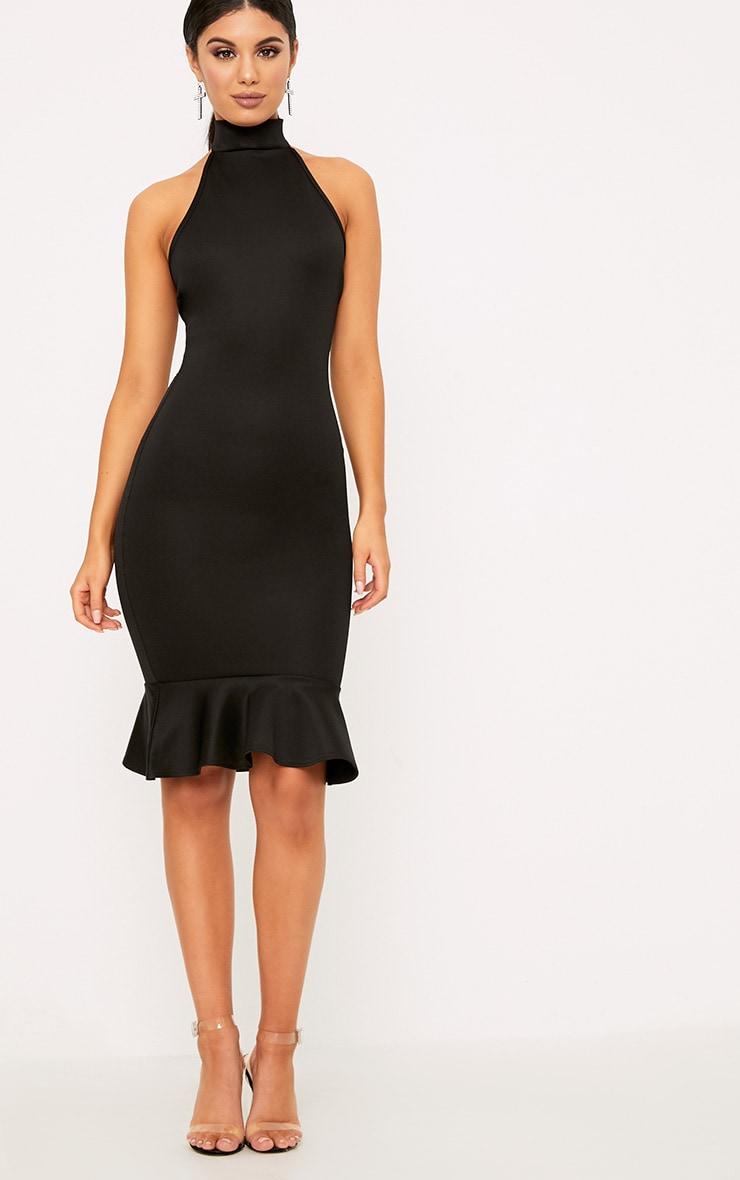 Black High Neck Frill Hem Midi Dress 4