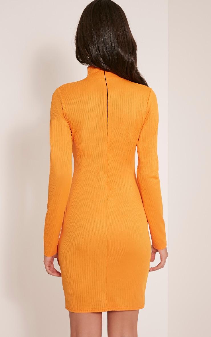 Marlene Bright Orange Zip Detail Ribbed Bodycon Dress 2