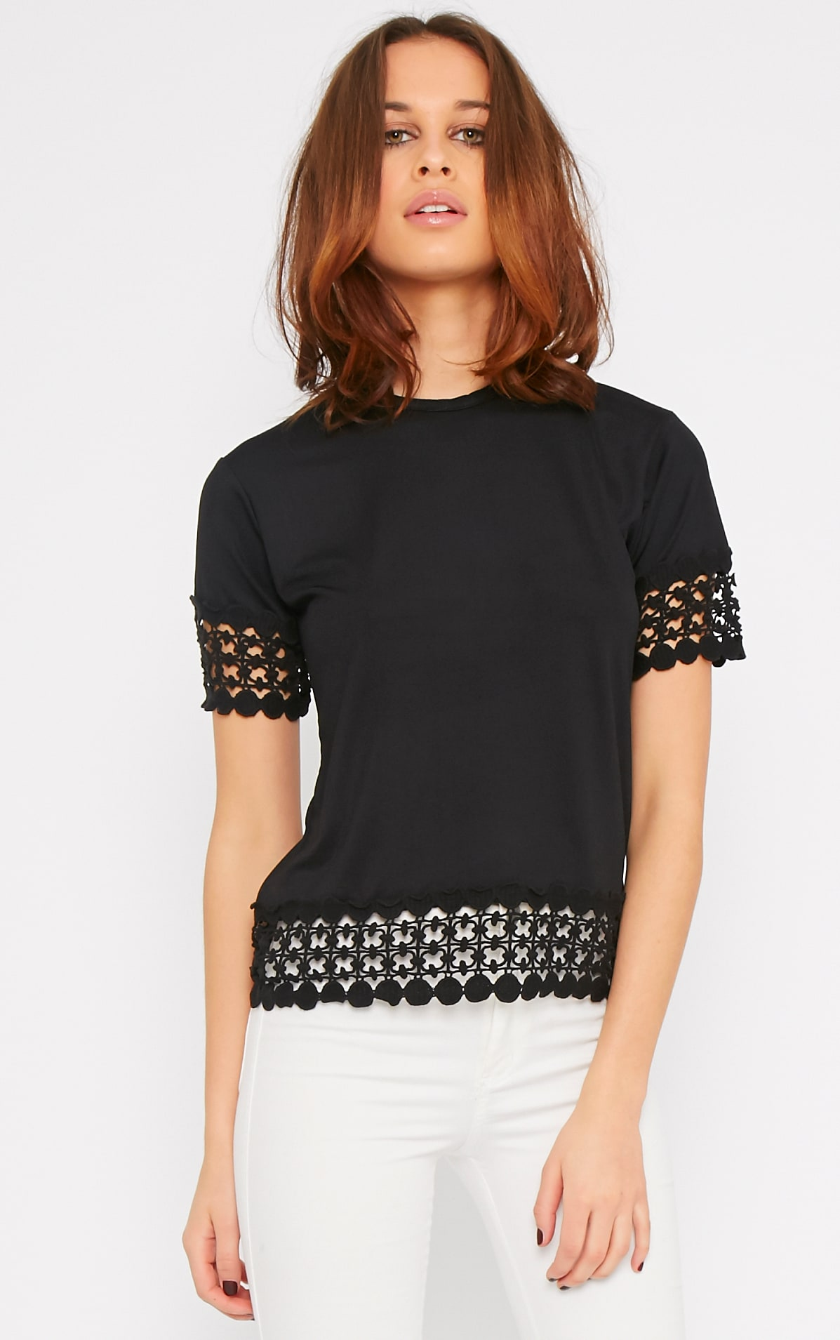 Rhian Black Crochet Trim Tee 1