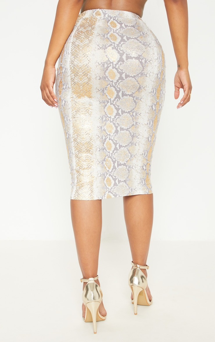 Shape Gold Snake Print Midi Skirt 4