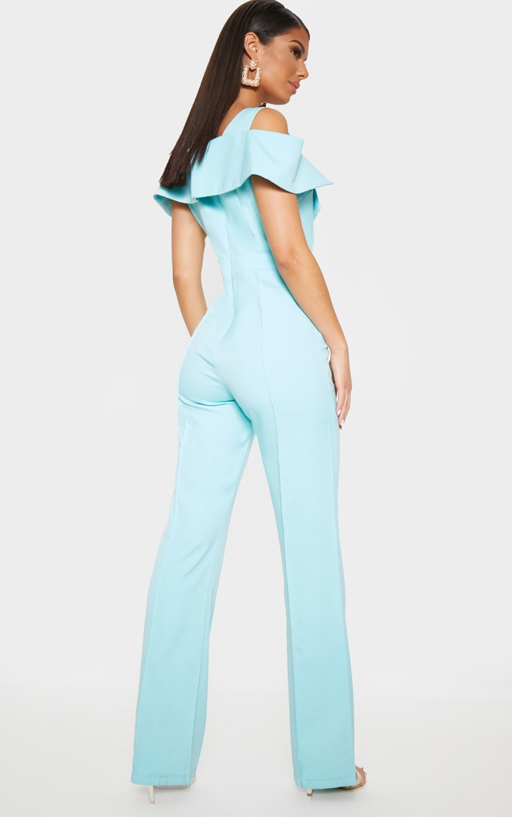 Pastel Blue Lapel Detail Wide Leg Jumpsuit 2
