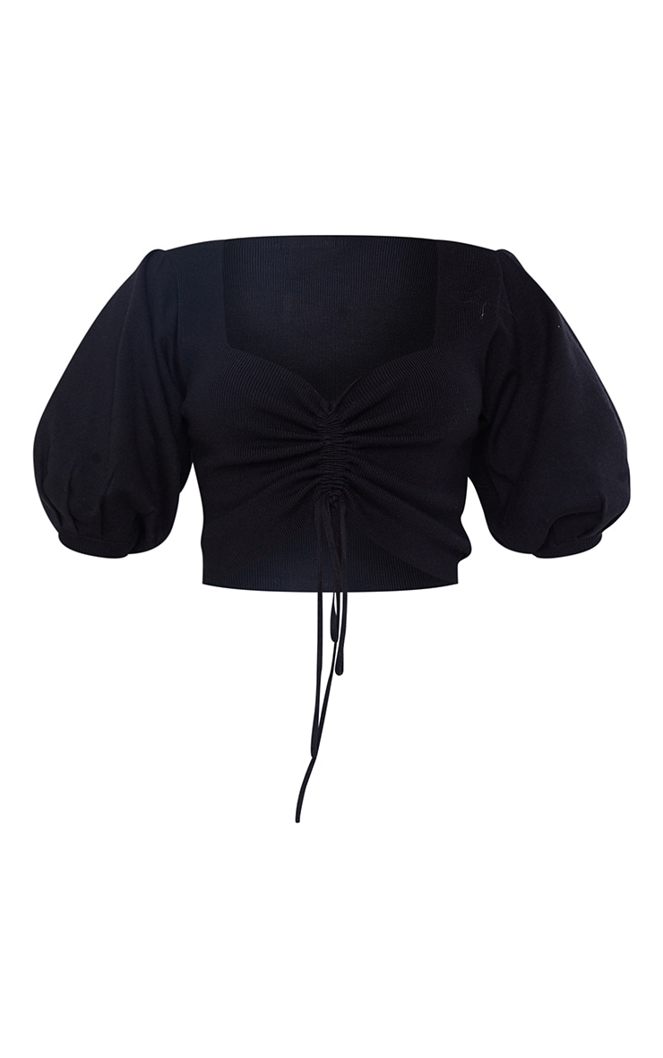 Black Ruched Knitted Puff Sleeve Top 5