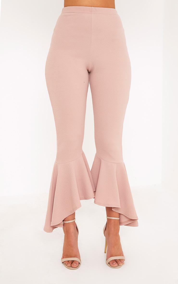 Lourdes Nude Asymmetric Flare Hem Pants 2