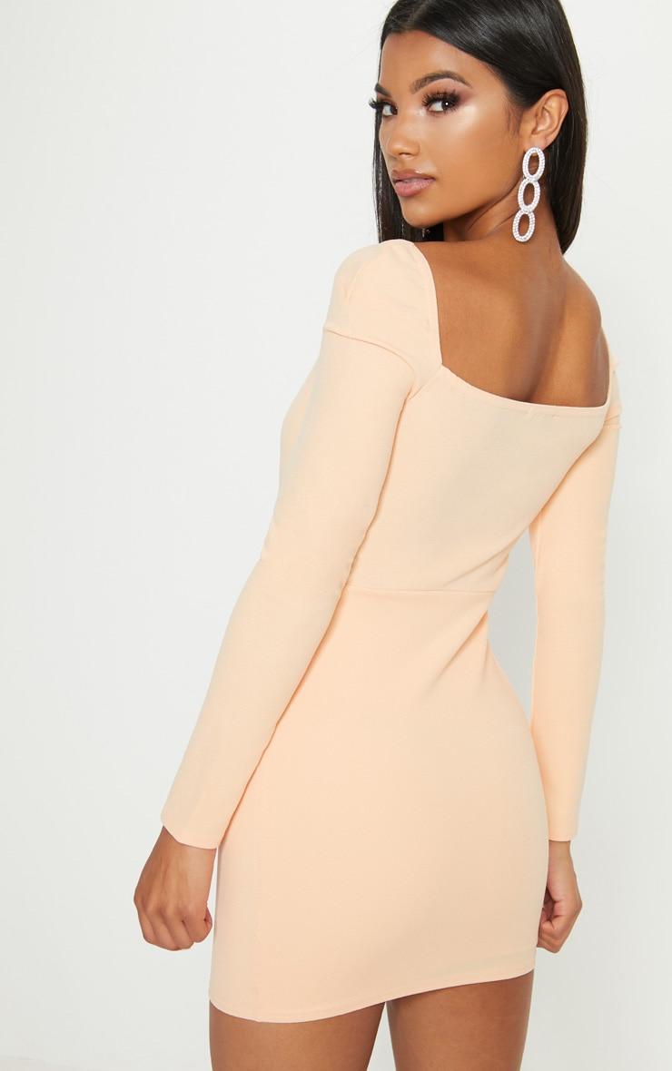 Pale Tangerine V Bar Square Neck Bodycon Dress Pretty Little Thing mN8H9