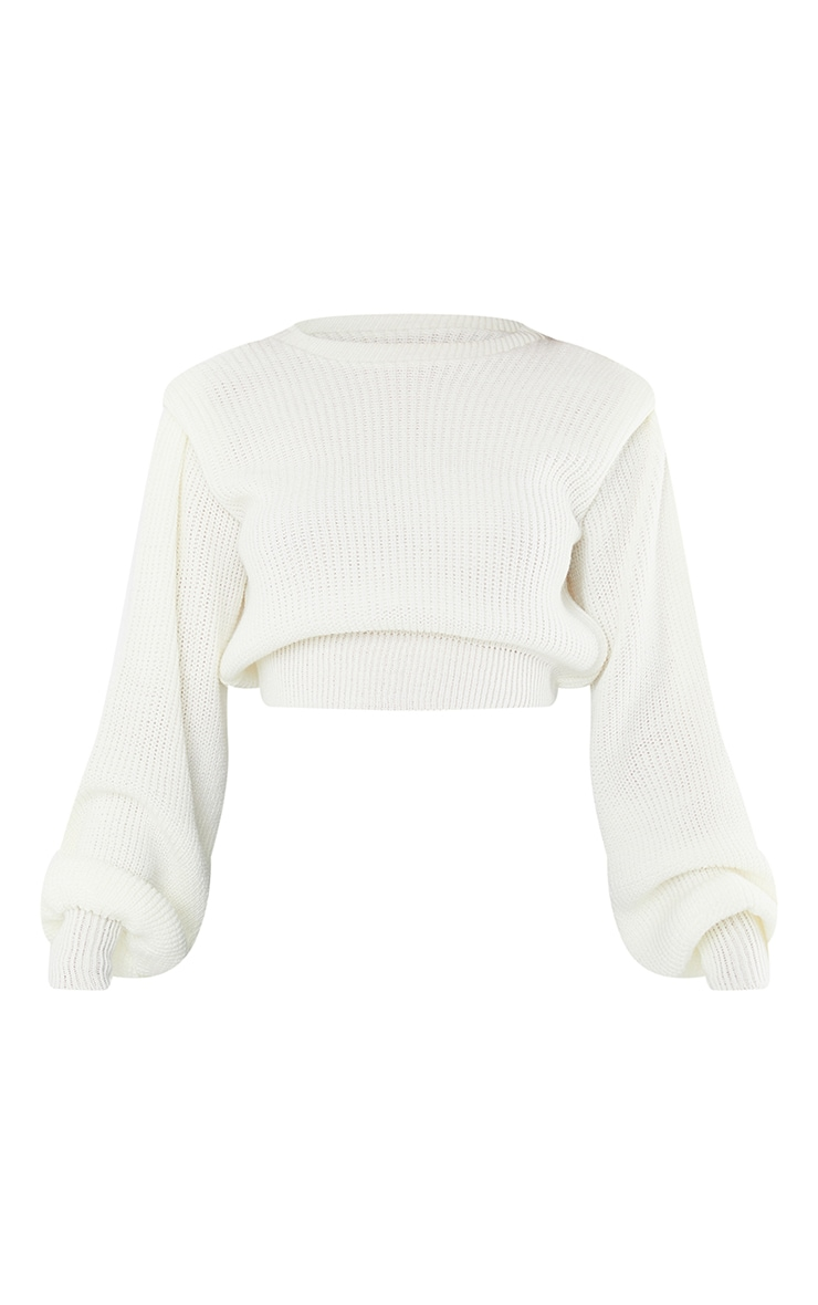 Cream Open Back Shoulder Detail Sweater 5