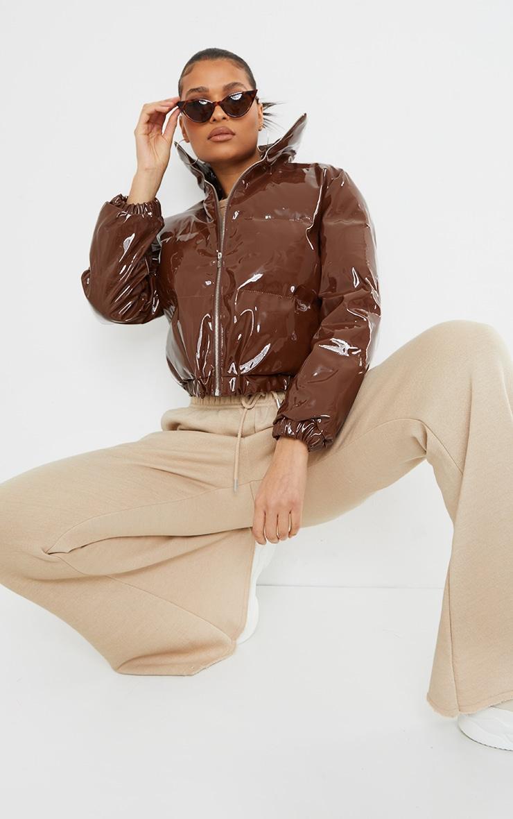 Chocolate Cropped Vinyl Puffer Jacket image 1