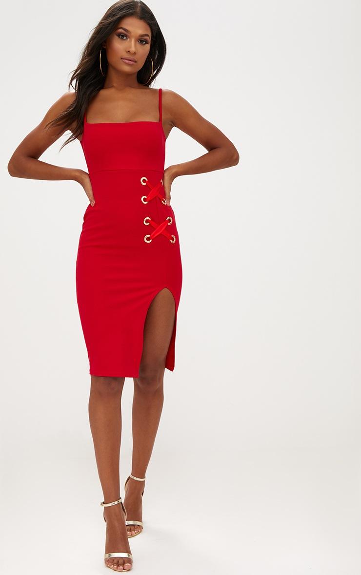 Red Eyelet Satin Lace Up Detail Midi Dress 4