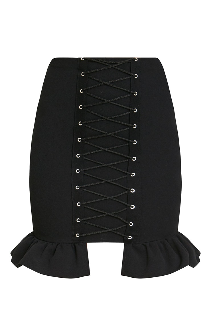 Black Corset Lace Up Midi Skirt 3