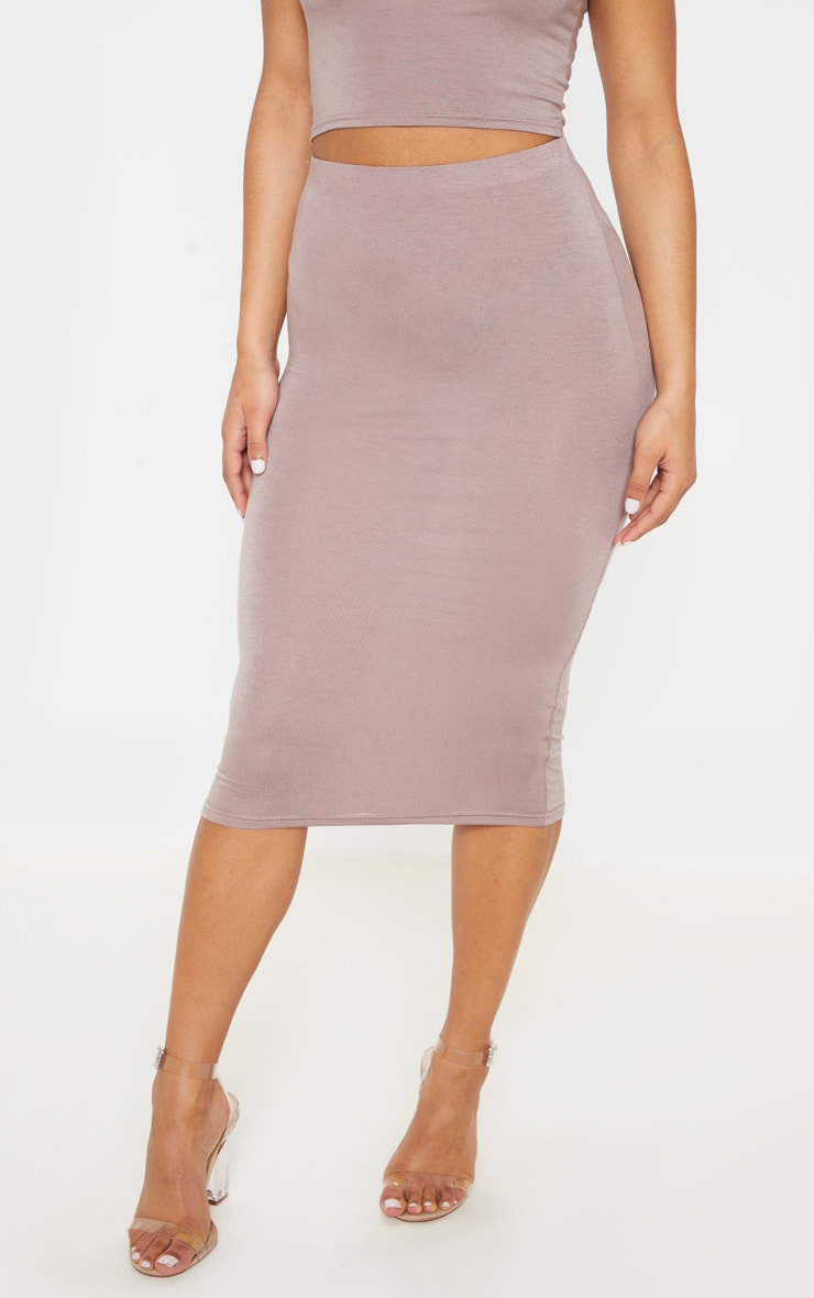 Basic Taupe Long Line Midi Skirt 2