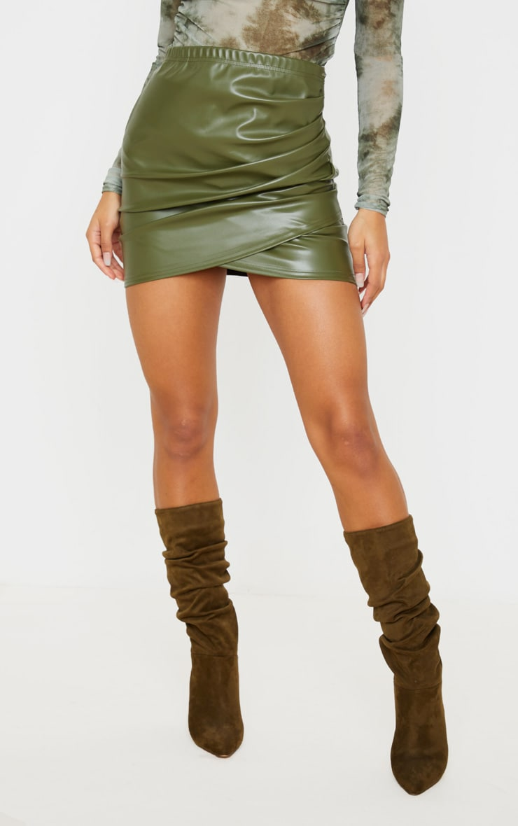 Khaki Faux Leather Ruched Wrap Skirt 2