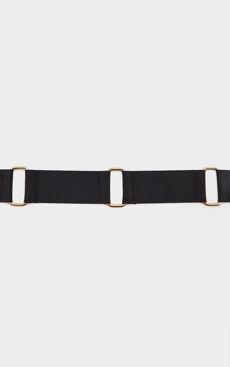 Black Ribbon Ring Detail Gold Buckle Tape Belt 4