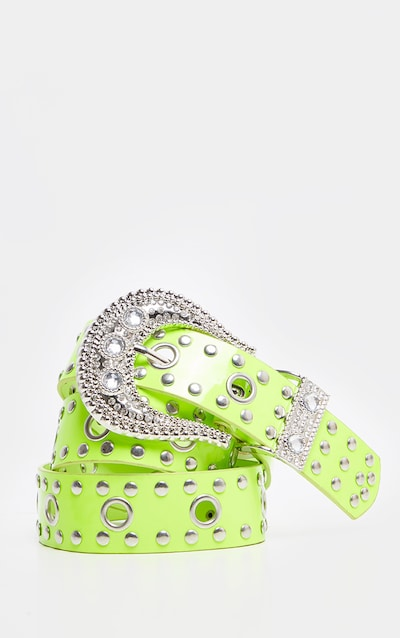 Lime Studded Western Style Belt