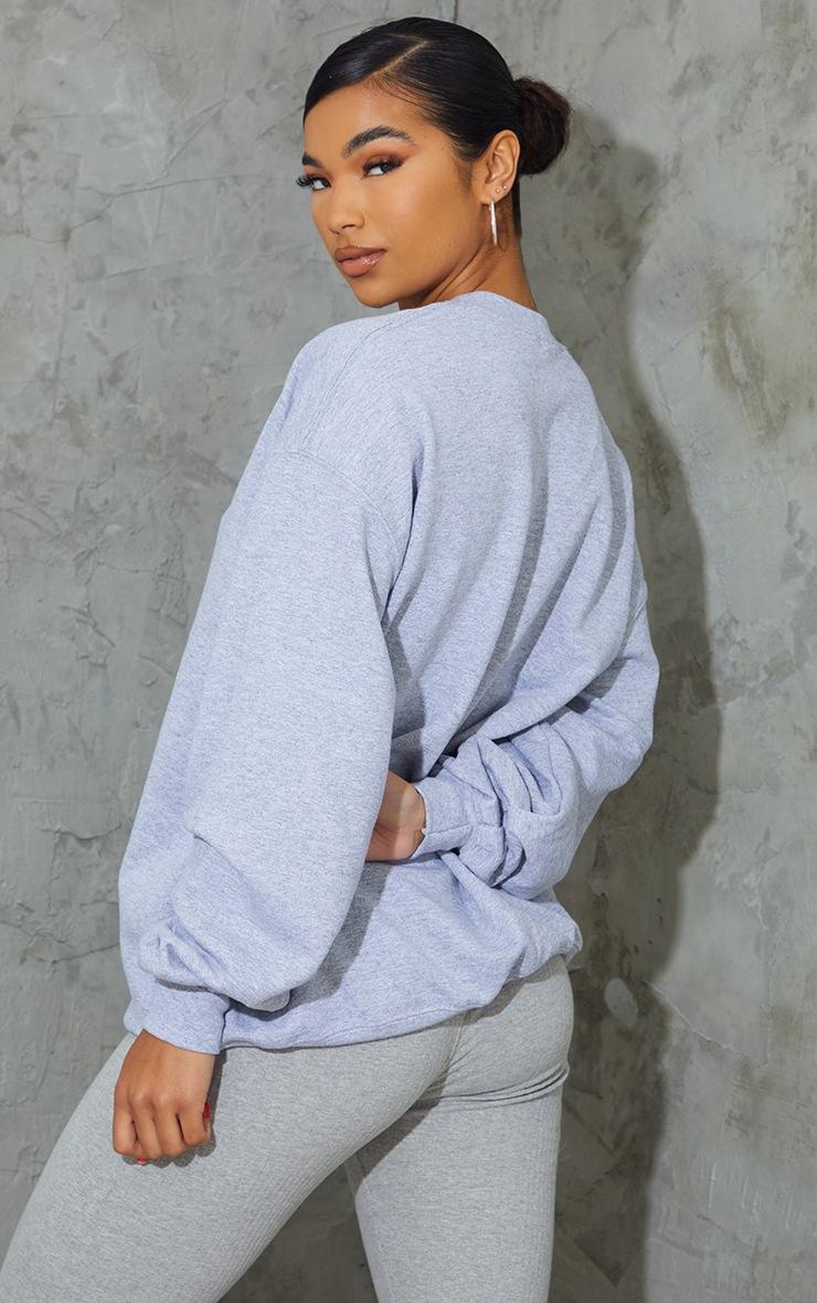 Grey Dream More Slogan Embroidered Sweatshirt 2