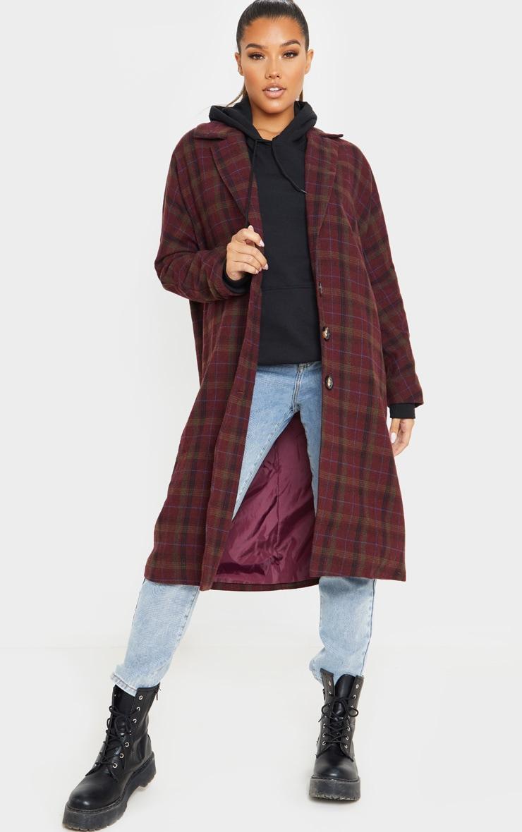 Burgundy Boyfriend Oversized Midi Coat 1