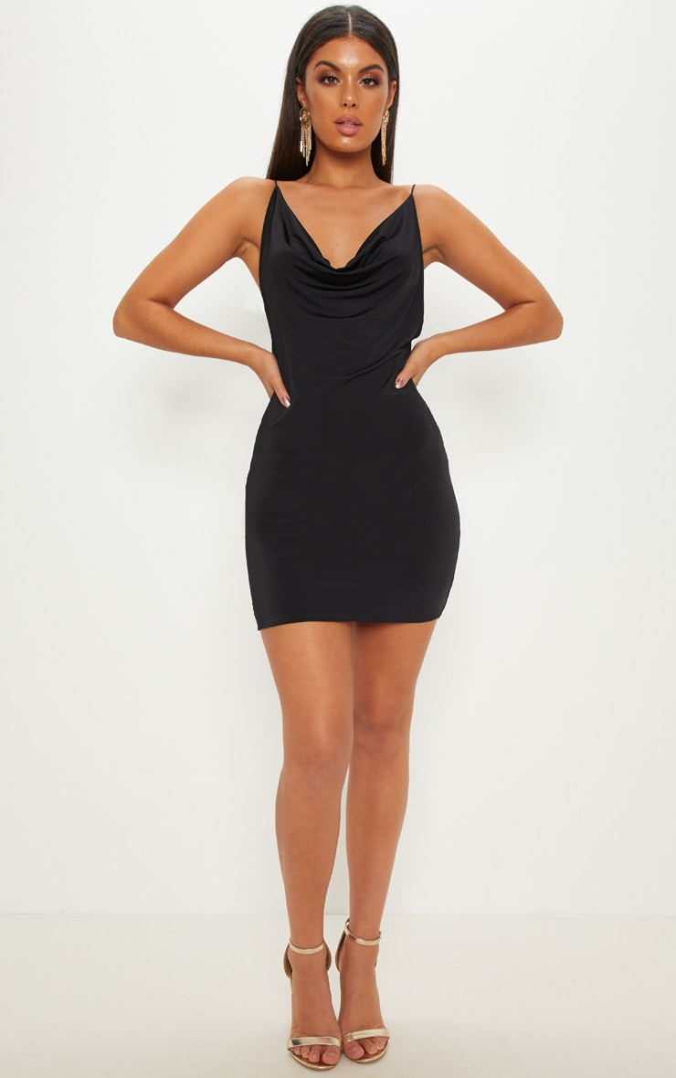 Black Slinky Cowl Neck Scoop Back Ruched Bodycon Dress 3
