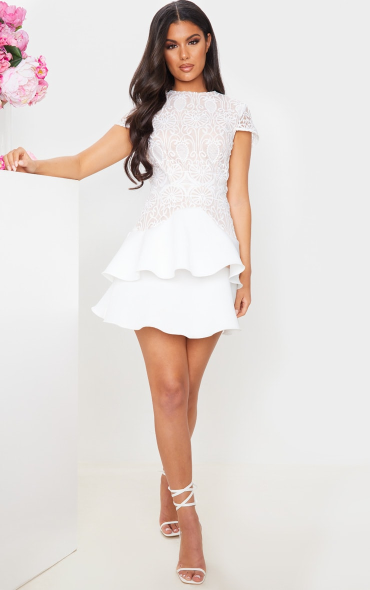 White Embroidered Tiered Skirt Skater Dress 3
