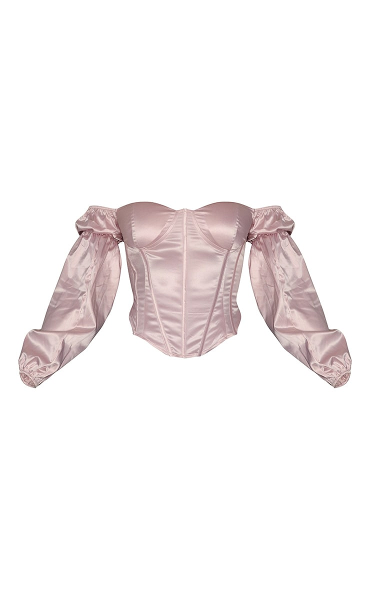 Blush Satin Bardot Balloon Sleeve Corset Top 5