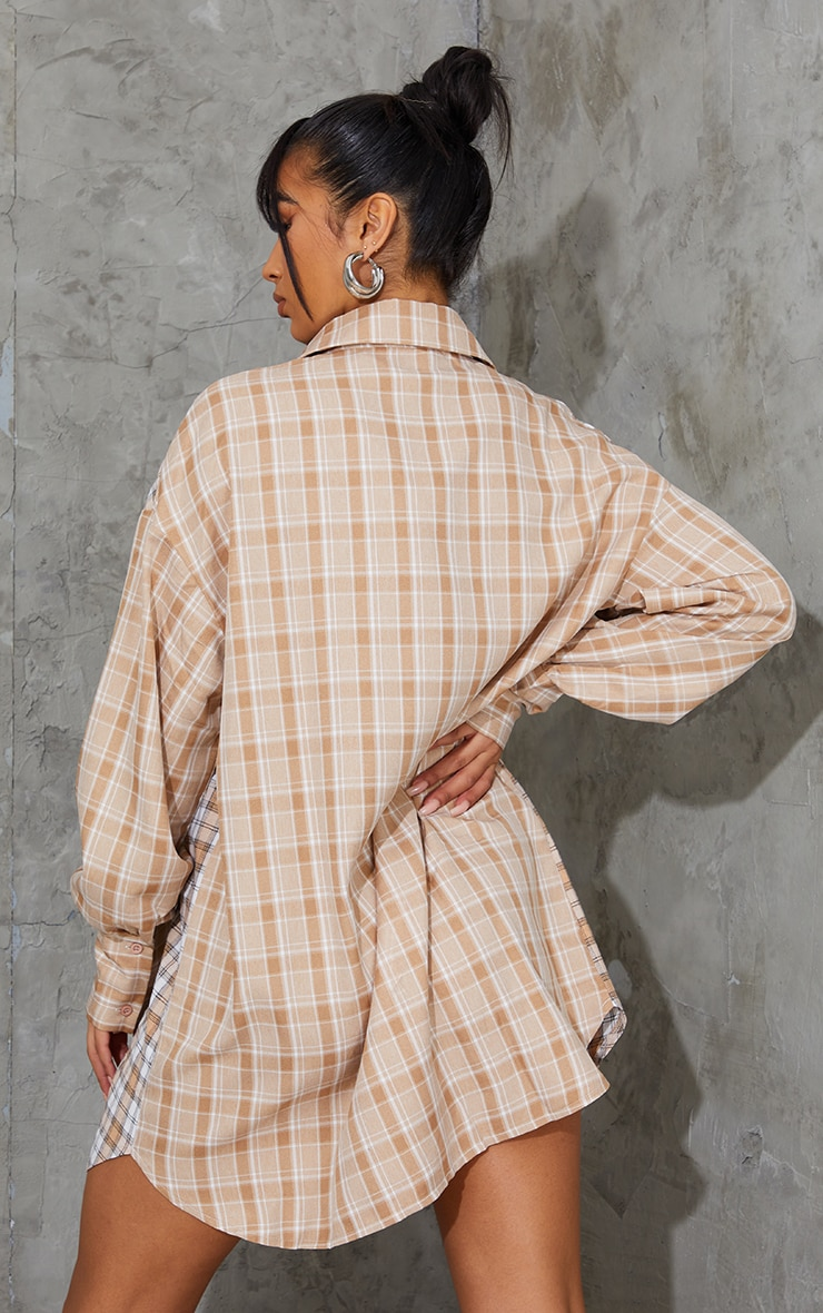 Stone Contrast Check Flannel Oversized Shirt Dress 2