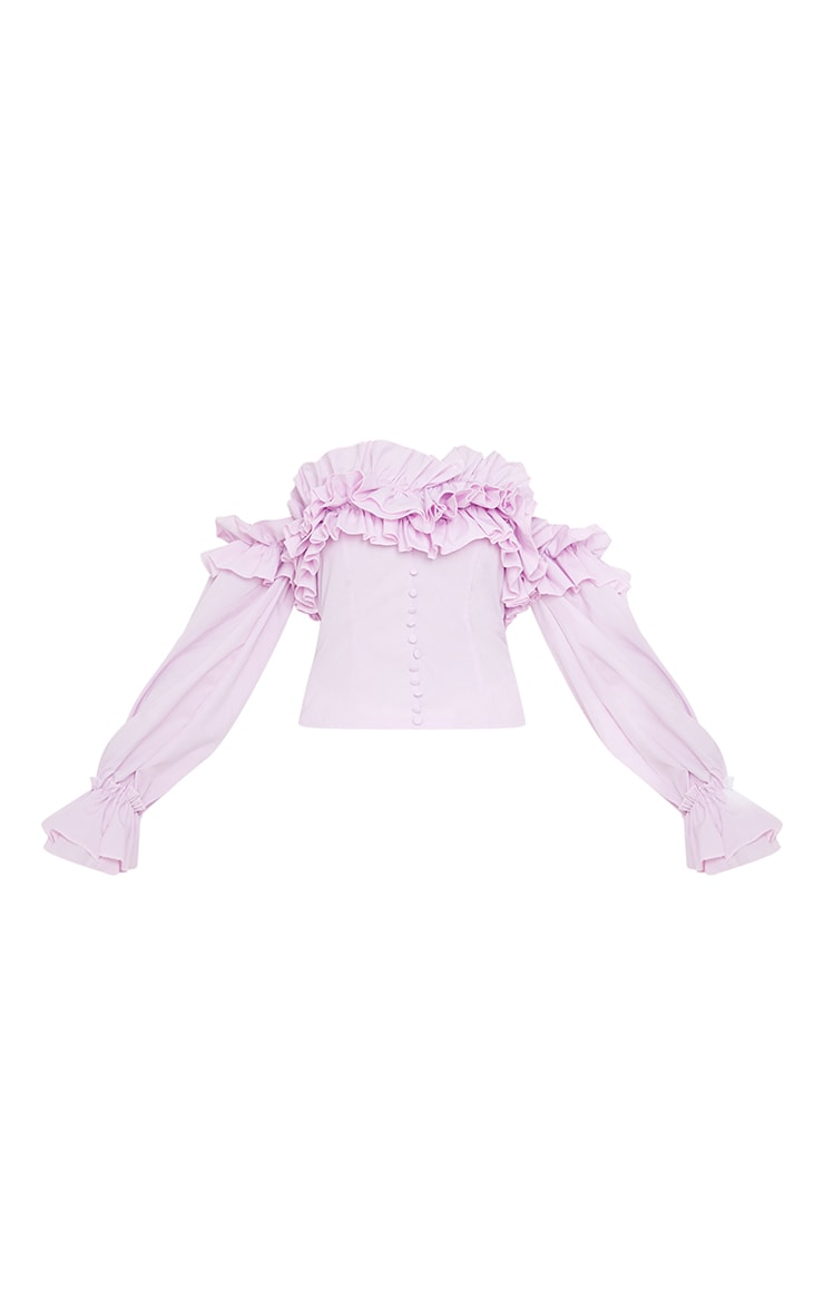 Lilac Ruffle Hem Off Shoulder Long Sleeve Top 5
