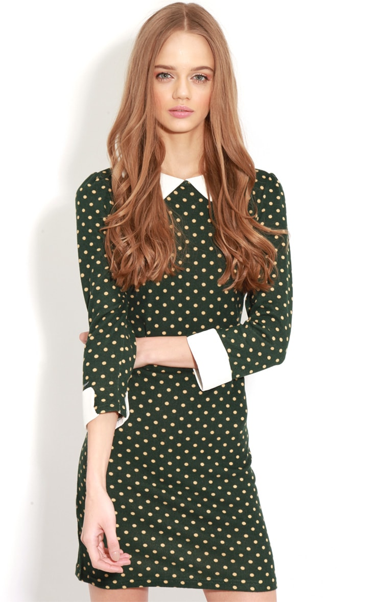 Abril Green Polka Dot Collared Dress 4