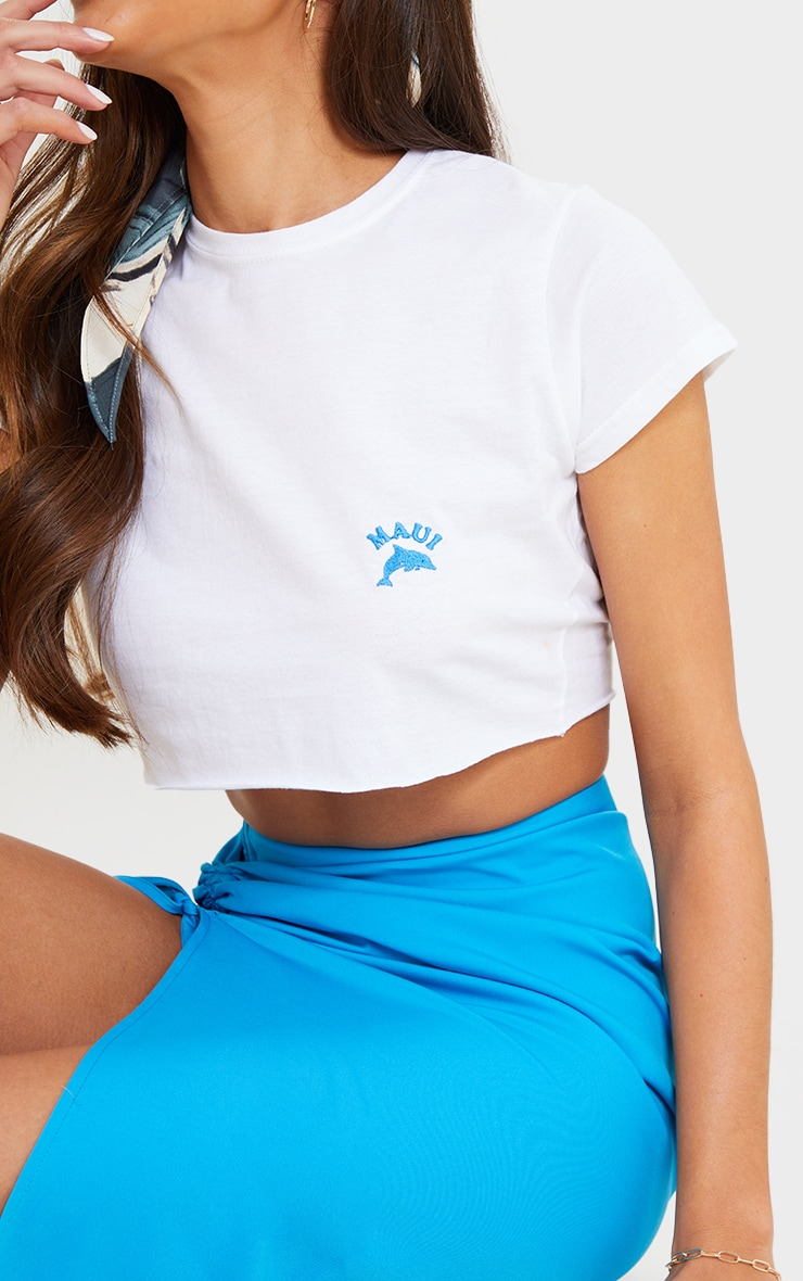 White Maui Dolphin Embroidered Crop T Shirt 4