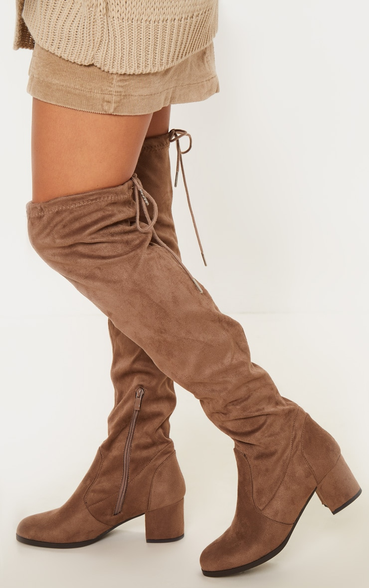 Taupe Faux Suede Block Heel Thigh Boot 2
