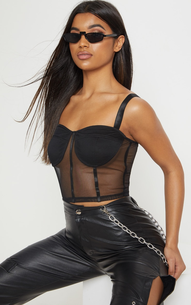 0e37355966 Black Caged Mesh Crop Top | Tops | PrettyLittleThing