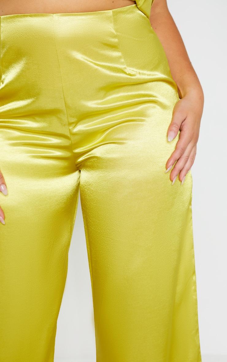 Plus Pale Lime Satin Wide Leg Pants  5