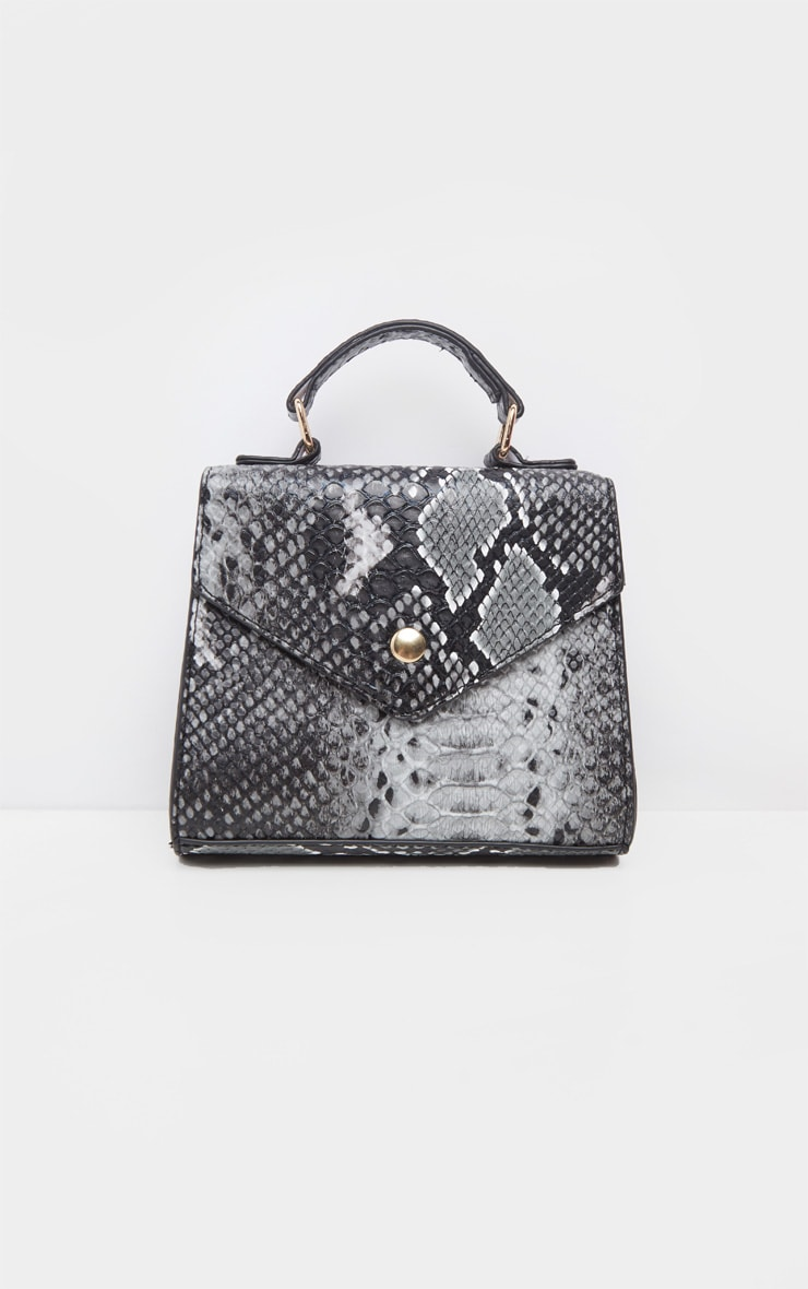 Grey Snake PU Envelope Mini Cross Body Bag 2